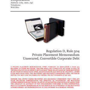 Rule 504 Unsecured Convertible Corporate Debt