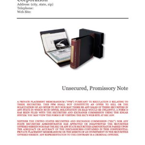 Form Unsecured Promissory Note